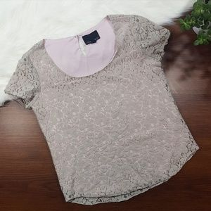 *FREE!* CYNTHIA ROWLEY Floral Lace Short Sleeve